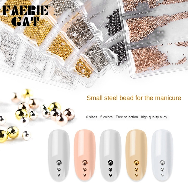6 Grid 0.8-3mm Nail Art Tiny Steel Caviar Beads Mixed Size Metal 3D Design Rose Gold Silver Jewelry Manicure DIY Decoration Tool