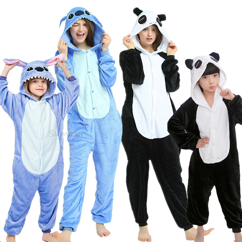 Adult Animal Unicorn Stitch Onesie Pajama Women Men Boys Girls Couple 2020 Winter Pajamas Suit Kigurumi Sleepwear Flannel Pijama