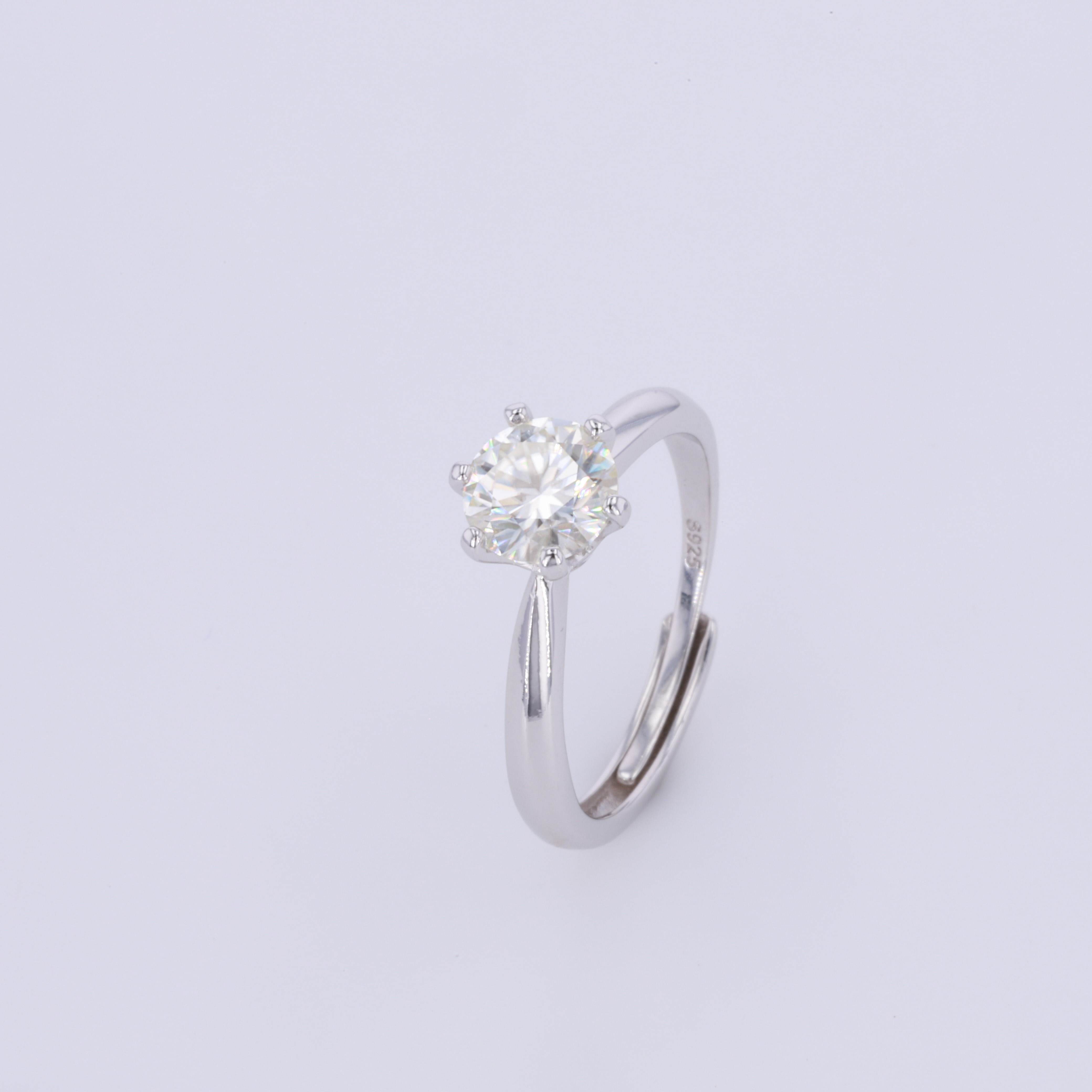 Resizable 925 Sterling Silver Ring 1ct Moissanites Ring Engagement Wedding Diamond Ring For Women Adjustable