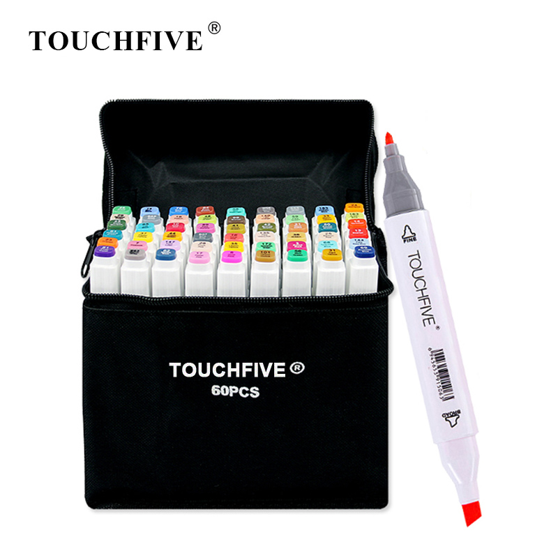 Touchfive Pen Art-Supplies Drawing-Markers Alcohol-Based Twin-Brush Manga Sketch Oily