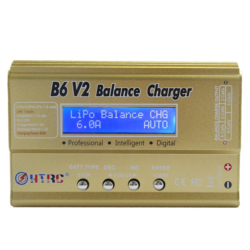 HTRC B6 V2 80W 6A DC RC Multi-Charger For LiPo LiIon LiFe NiCd NiMH LiHV PB Smart Battery Multi-Chemistry Balance Charger, Gold