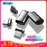 Elough-adaptador OTG magnético USB tipo C, Micro a Micro tipo C, adaptador de iluminación, OTG tipo C para iPhone, Xiaomi, Poco, Macbook, convertidor