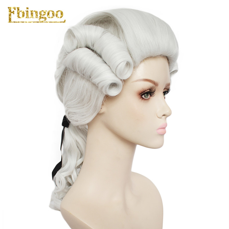Ebingoo White Grey Black Lawyer Wig Baroque Curly Female Lawyer Judge Costume Wigs Deluxe Historical Long Synthetic Cosplay Wig