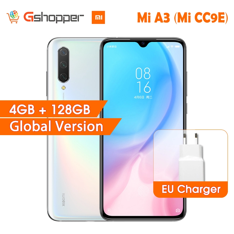 "In Stock Global Version Xiaomi Mi A3 MiA3 4GB 128GB 32MP+48MP Camera 4030mAh Mobile Phone Snapdragon 665 Octa Core 6.088"" AMOLED"
