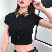 купить Black Elegant Leopard Turn Down Collar Fitted High Neck Neck Sleeve Workwear Tee Autumn Casual Women T Shirt and Top Short Shirt по цене 864.29 рублей