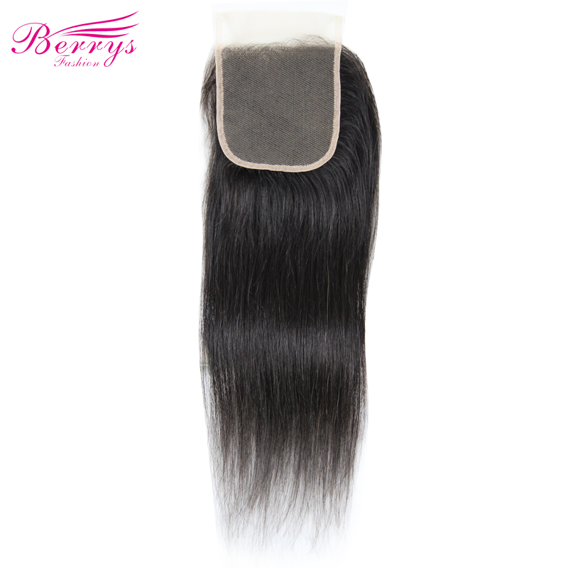 Closure Straight Human-Hair-Extensions Brazilian-Hair Berrys Fashion Transparent Prepluncked