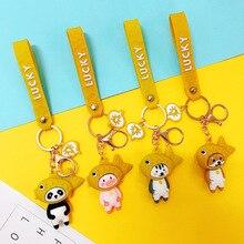 2020 Japanese Ins Red Snapper Headgear Keychains Cartoon Silicone Dog Panda Pig Doll Key Chain Women Bag Pendant Key Rings Gift
