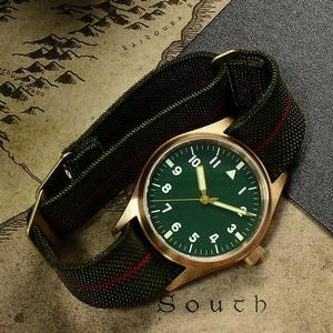 Image 3 - San Martin Pilot Military Watch Bronze Men Wristwatch Nylon Elastic Strap  Sapphire Water Resistant 200M Luminous часы мужские