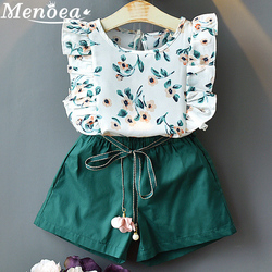 Menoea 2019 Marke Neue Mädchen Mode Sommer Sets Mädchen Kleidung Kinder Kleidung Sets Ärmel Floral T-Shirt Kurze 2Pcs Anzüge