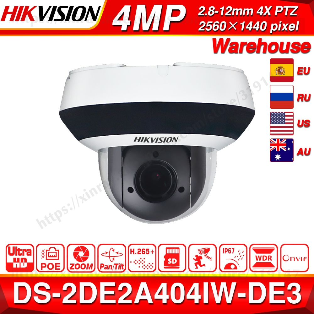 Hikvision Original PTZ IP Camera DS-2DE2A404IW-DE3 4MP 4X Zoom Network POE H.265 IK10 ROI WDR DNR Dome CCTV Camera