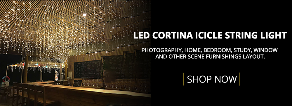 Jsex led cortina icicle string luz faily