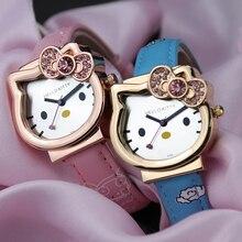 Мода дети часы Hello kiity Pink Gril часы для малыша высокое качество натуральная кожа ремешок дети часы девушки часы подарки