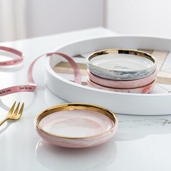 Керамическая тарелка для ювелирных изделий в скандинавском стиле, серьги, ожерелье, кольцо, тарелки для хранения фруктов, десертов, украшен...