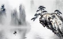 New Chinese style landscape  welcoming pine background wall 3d murals wallpaper for living room
