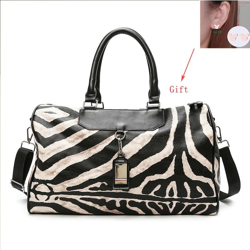 Где купить Женская модная полосатая многофункциональная мужская сумка на плечо, большая вместительность, Женский багаж, леопард, женские дорожные сумки