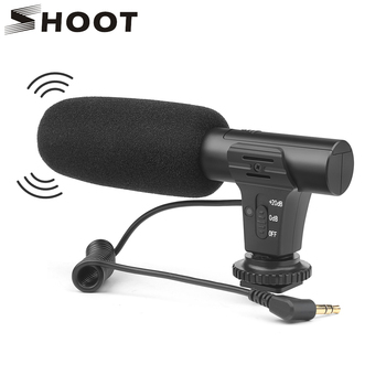 SHOOT 3.5mm Stereo Camera Microphone VLOG Photography Interview Digital Video Recording Microphone for Nikon Canon DSLR Camera image