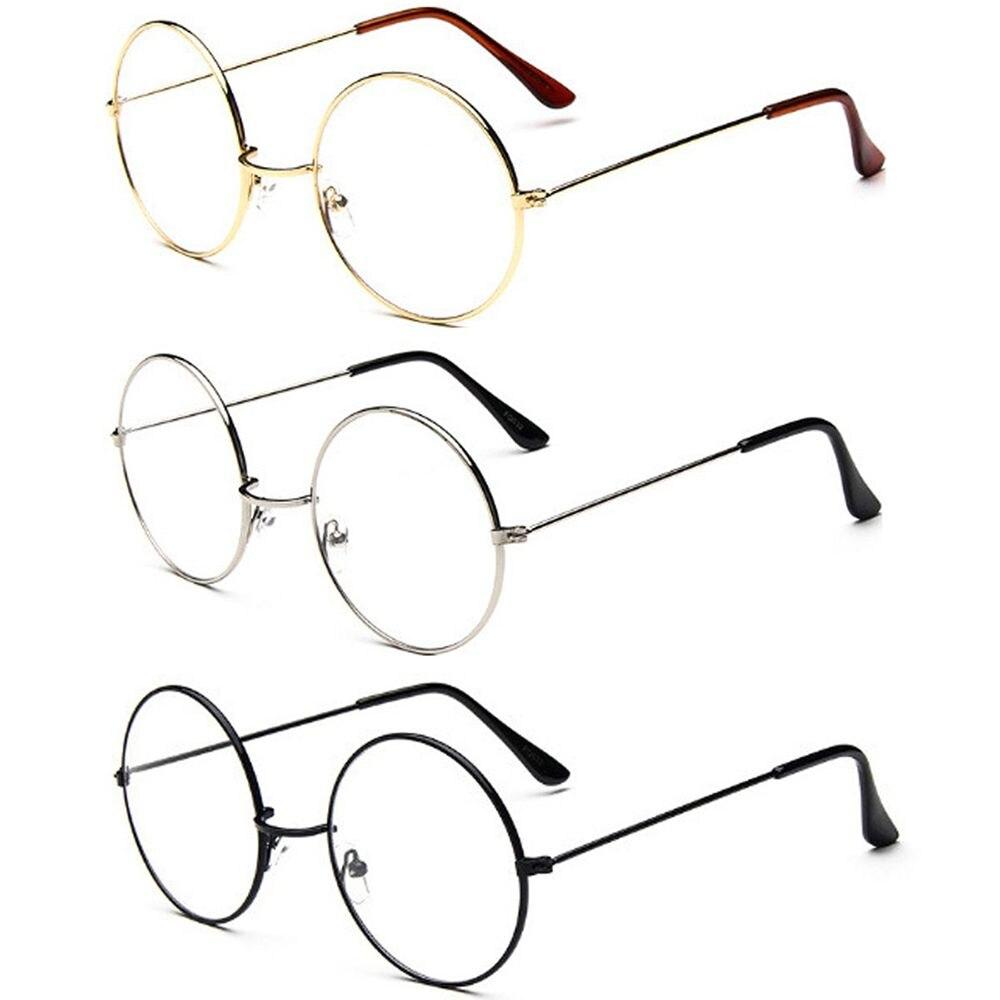 Grand cadre en métal surdimensionné lentille claire rond cercle lunettes lunettes rond en métal clair lentille lunettes cadre unisexe cercle lunettes