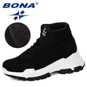 Image 3 - BONA 2019 nowi projektanci zamszowe trampki platforma ciepłe pluszowe buty zimowe damskie klinowe wysokie góry rekreacyjne buty damskie wygodne