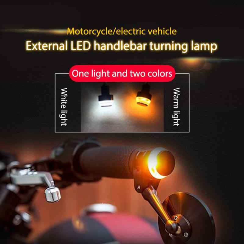 Une paire moto LED guidon fin clignotant clignotants pour guidon ambre prise Signal lumineux 12V guidon clignotant