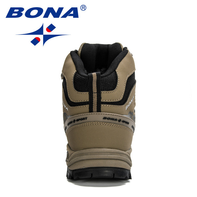 BONA 2020 New Arrival Hiking Shoes Action Leather Shoes Men Climbing & Fishing Shoes Man High Top Winter Plush Snow Boots Trendy 2