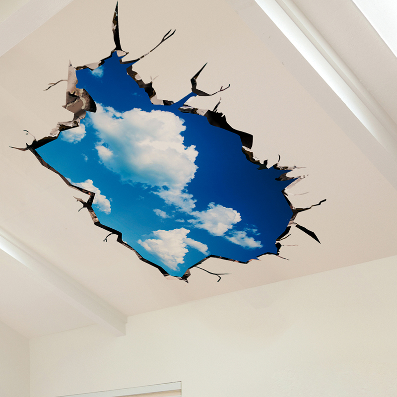 [shijuekongjian] 3D Wall Stickers Vinyl DIY Blue Sky Clouds Mural Decals for Kids Bedroom Student Dormitory Ceiling Decoration