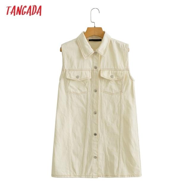 Tangada Women Solid Denim Short Dress Pocket Sleeveless 2021 Fashion Lady Elegant Dresses Vestido YI10 1