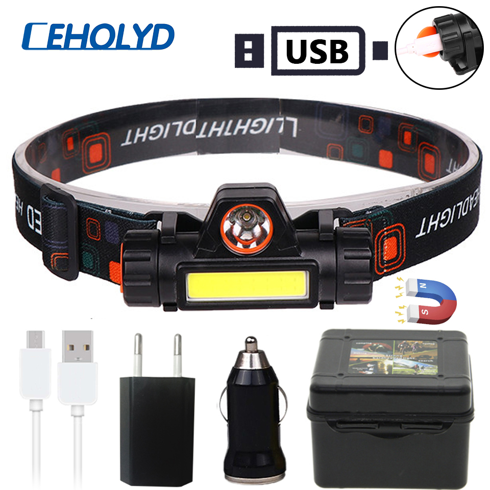 XP-G Q5 Built-in 18650 Battery LED Headlamp COB Work Light 2 Light Mode With Magnet Waterproof Headlight Head Lamp Flashlight