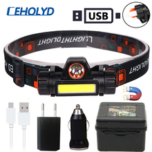 LED Headlamp Lamp-Flashlight Magnet Work-Light Waterproof Xp-G q5 18650 Battery Mode