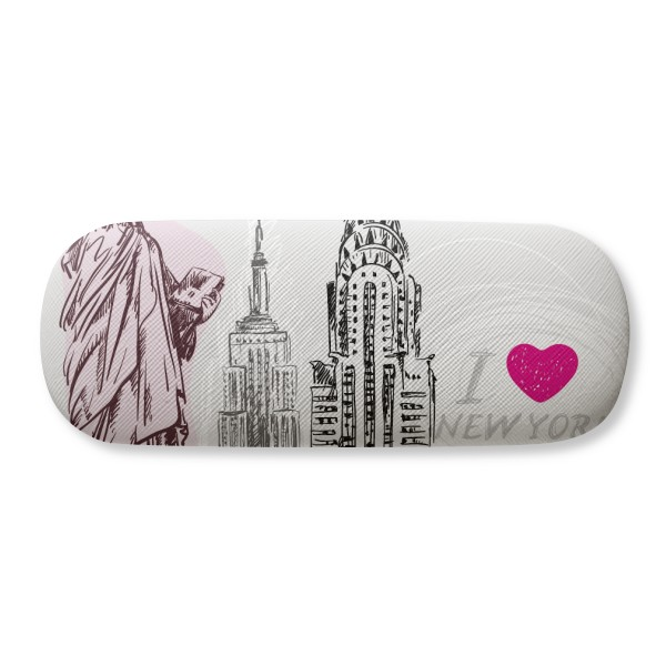 I Love New York America Country City Glasses Case Eyeglasses Clam Shell Holder Storage Box image
