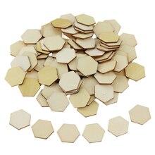 100 Uds 10MM 20MM haya piezas hexagonales de madera ornamentos formas de madera adornos manualidades DIY decoraciones