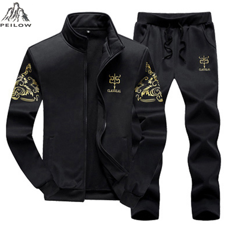 PEILOW Plus Size M~8XL 9XL Men Tracksuit Sporting Suit Autumn Winter Men Sweatshirt Set 2 Piece Mens Sportswear Hoodies+pants