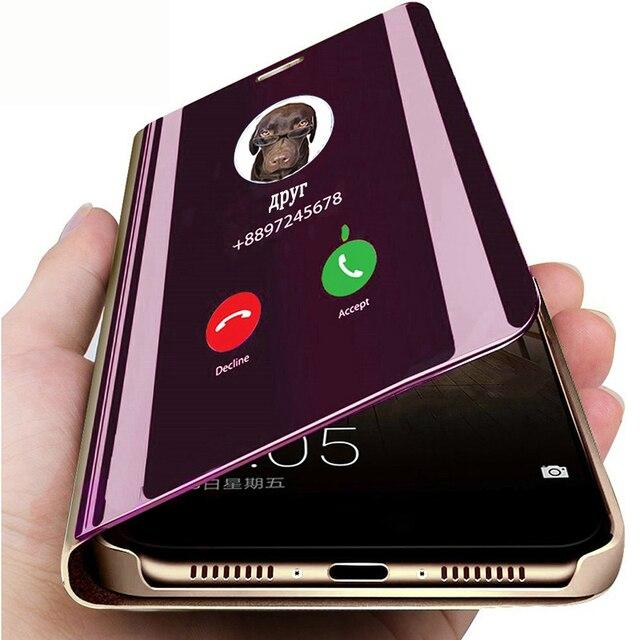 Inteligentne lustro etui z klapką do Xiaomi Redmi Note 8 7 K20 5 6 Pro 4X 5 Plus 5A 8A 7A S2 skórzane etui do Mi 9 9T Pro 8 SE A1 A2 okładka