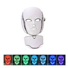 7 ألوان Led قناع الوجه الكهربائية مصباح ليد الفوتون علاج للوجه قناع جهاز تجميل تبييض مكافحة حب الشباب التجاعيد مع أقنعة الرقبة