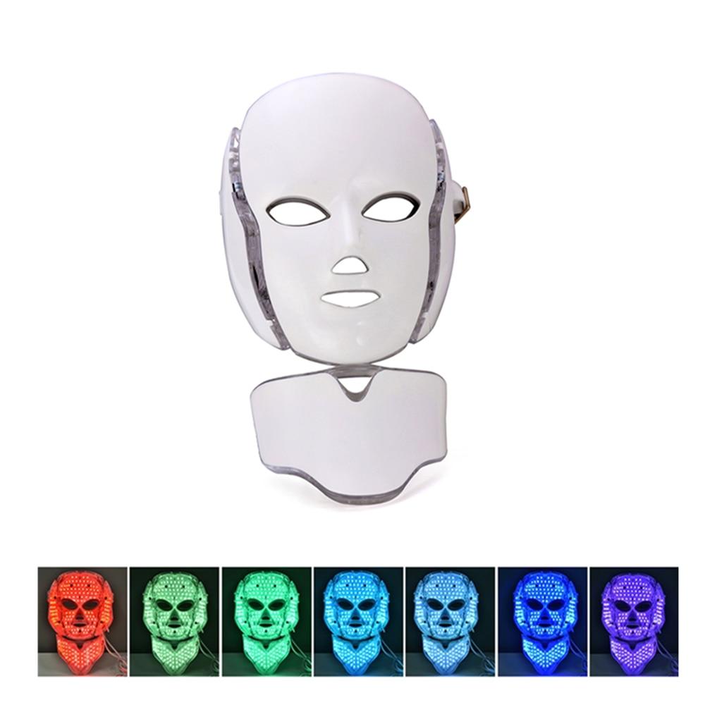 7 farben Led Gesichts Maske Elektrische Led Licht Photon Therapie Gesicht Maske Schönheit Maschine Bleaching Anti Akne Falten Mit Hals masken