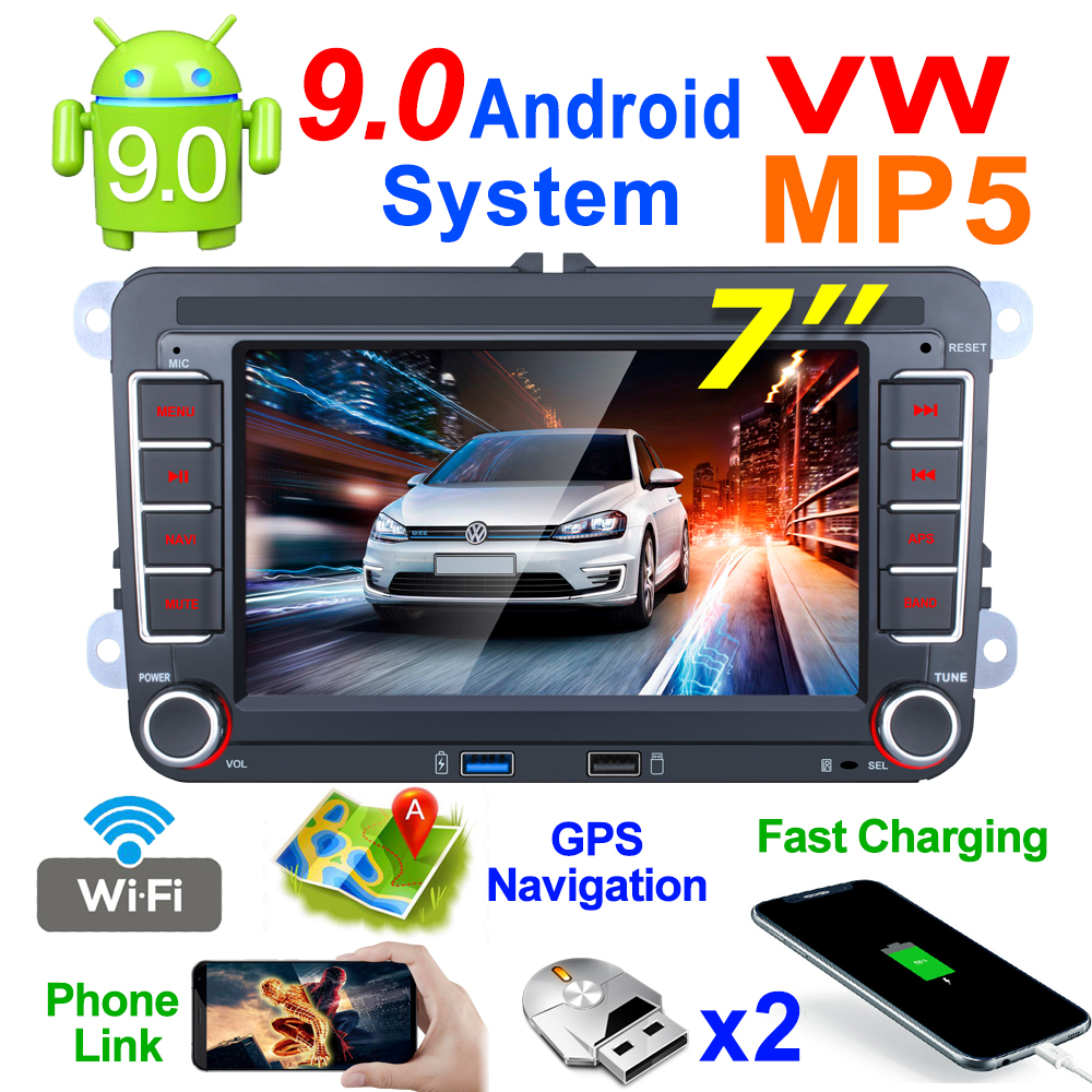 Android 9.1 2 Din Car Radio Multimedia Player GPS Stereo For Volkswagen Skoda VW Passat Polo Golf Touran Sharan Jetta Caddy