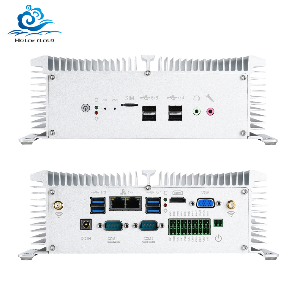 HLY Fanless 산업용 미니 PC 코어 <font><b>i5</b></font> 8350U 7200U i7 <font><b>7500U</b></font> 2 * LAN 2 * RS232 8 * USB 마이크로 컴퓨터 Linux Windows 10 7 Wifi HDMI VGA image