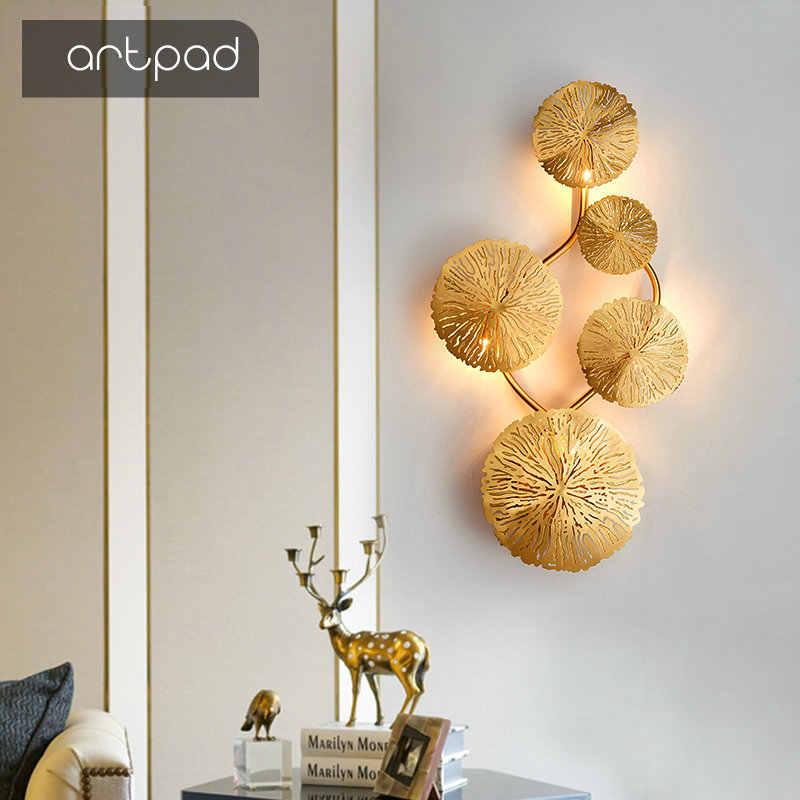 Artpad النحاس بريق الذهب لوتس ليف الجدار مصباح خمر الرجعية السرير غرفة المعيشة ديكور فني إضاءة المنزل شمعدانات جدارية G4 لمبة