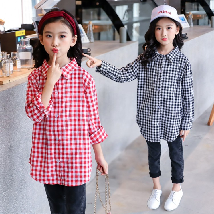 Girl'S Long-sleeved Shirt 2019 Autumn New Style Children Mid-length Plaid Base Shirt Spring And Autumn Childrenswear