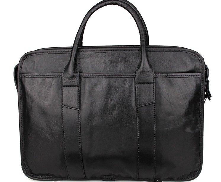 Genuine Leather Men Solid Business Briefcase Office Laptop Handbag