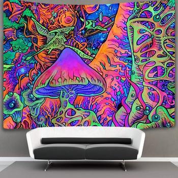 ควันเห็ด Tapestry Hippie Art Tapestry Wall แขวนประดับบ้าน