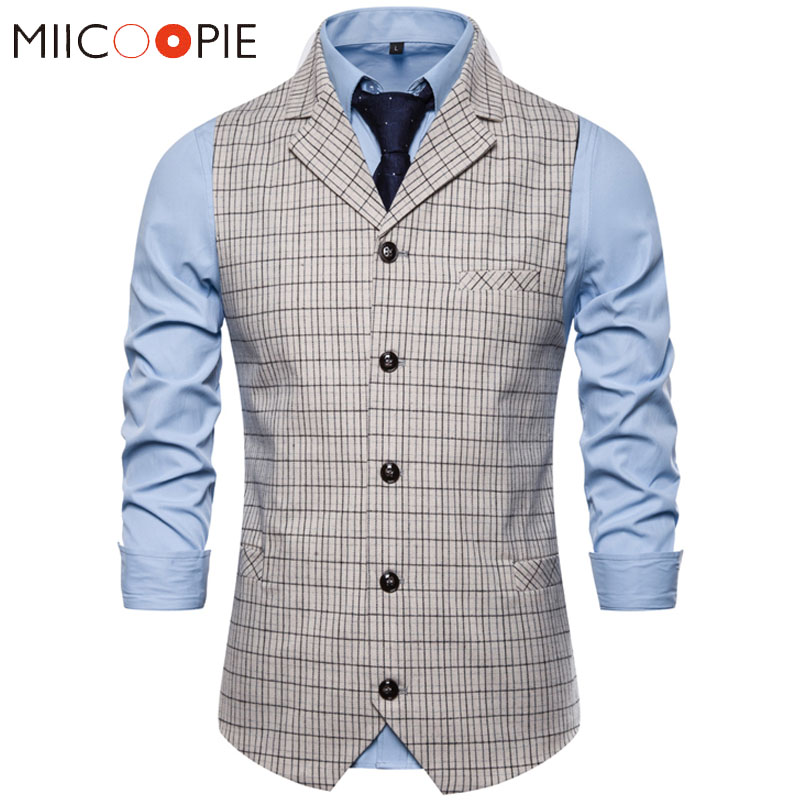 Suit Vest Waistcoat White Wedding-Dress Plaid Formal Single-Breasted Casual Business