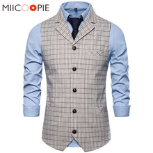 Suit Vest Waistcoat Wedding-Dress Business Formal White Single-Breasted Casual Plaid