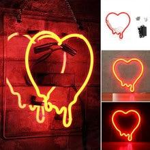 28X25CM Custom Dripping Heart Glass Neon Light Sign Beer Bar