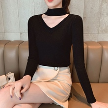 Sweaters V-neck slim slimming women Halter long sleeve knitted tops Autumn v-neck winter pullover Casual ladies jumper pull