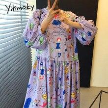 Yitimoky vestidos simples mulheres puff manga o pescoço 2021 verão coreano novas dobras impressão dos desenhos animados gráfico solto pulôver vestido