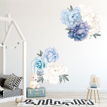 Blue Peony Flowers Wall Stickers for Bedroom Living room Dining room Vinyl Removable PVC Wall Decals Eco-friendly Wall Murals blue peony wall stickers bedroom living room tv background diy vinyl plants wall decals eco friendly removable diy wall murals