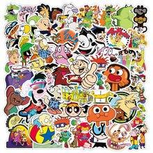 50 pçs clássico dos desenhos animados 90s graffiti à prova dwaterproof água skate viagem mala telefone portátil bagagem adesivos bonito crianças menina brinquedos