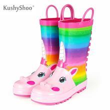 KushyShoo 장화 어린이 소녀 귀여운 유니콘 인쇄 어린이 고무 부츠 Kalosze Dla Dzieci 방수 아기 물 신발