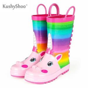 Image 1 - KushyShoo Rain Boots Kids Girl Cute Unicorn Printed Childrens Rubber Boots Kalosze Dla Dzieci Waterproof Baby Water Shoes