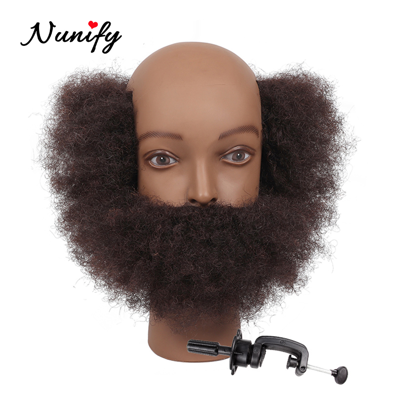 Nunify 100% Real Human Hair Mannequin Practice Training Head With Beard Barber Hairdressing Manikin Doll Head For Beauty School image